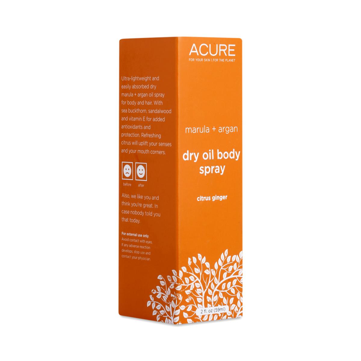 Acure Marula & Argan Dry Oil Body Spray, Citrus Ginger
