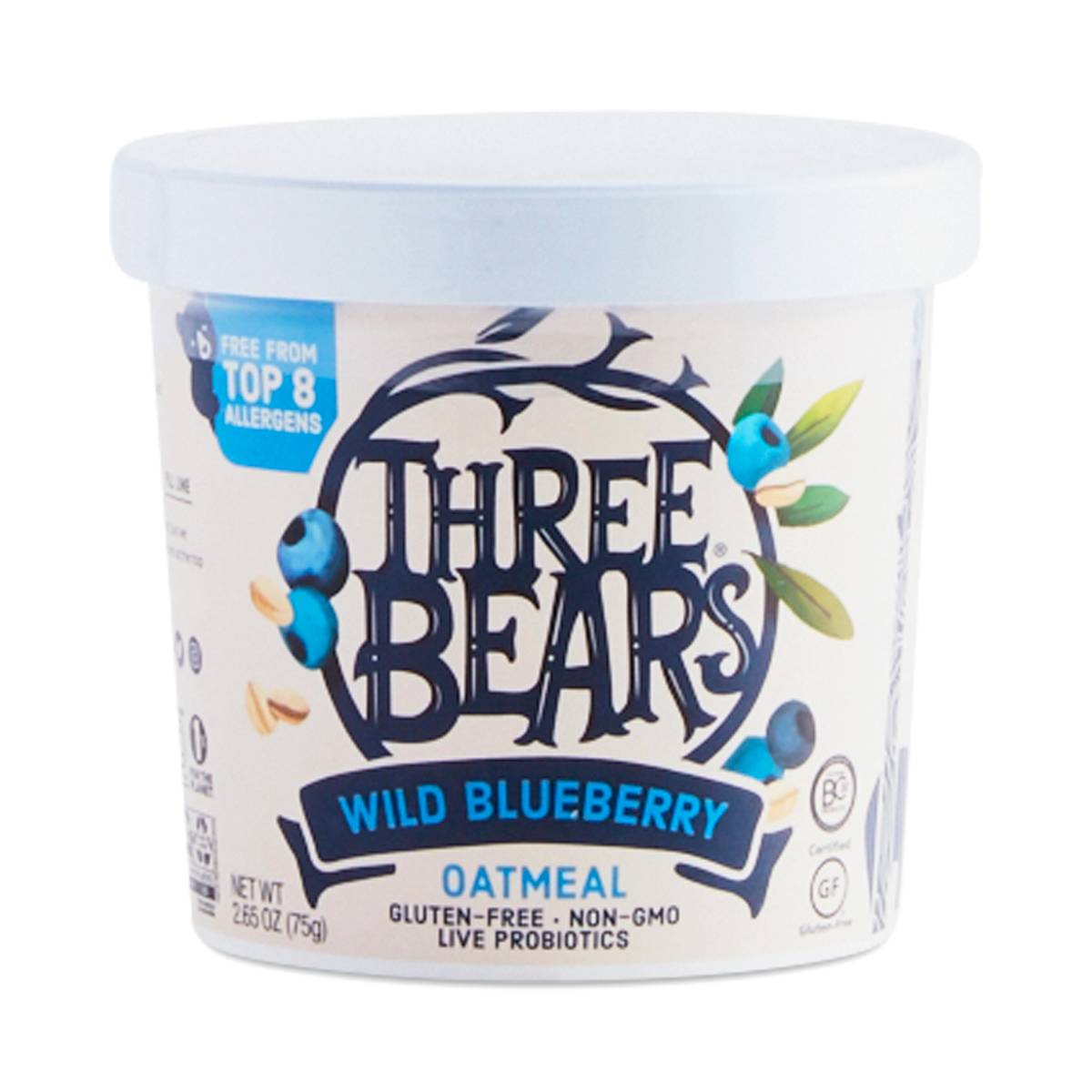 Wild Blueberry Oatmeal Cup By Three Bears Thrive Market