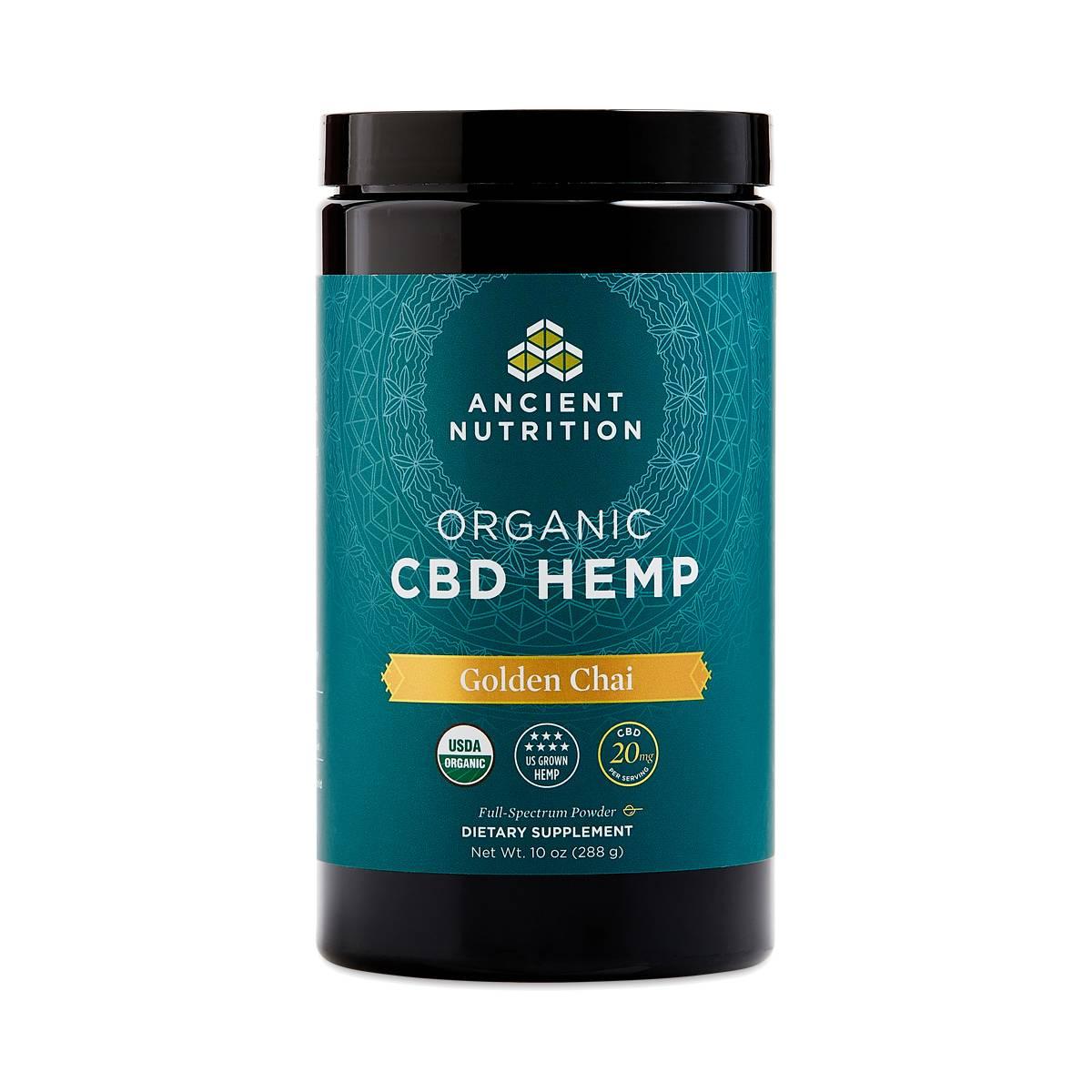 Ancient Nutrition Cbd Hemp Powder  Golden Chai