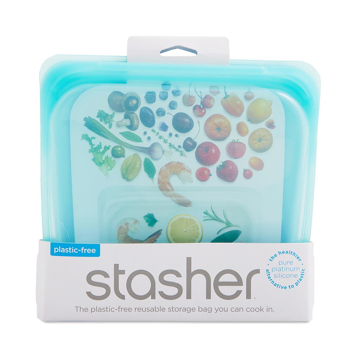 Stasher Reusable Silicone Bag, Aqua 1 count