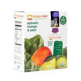Happy Tot Organic Baby Food, Spinach, Mango & Pear