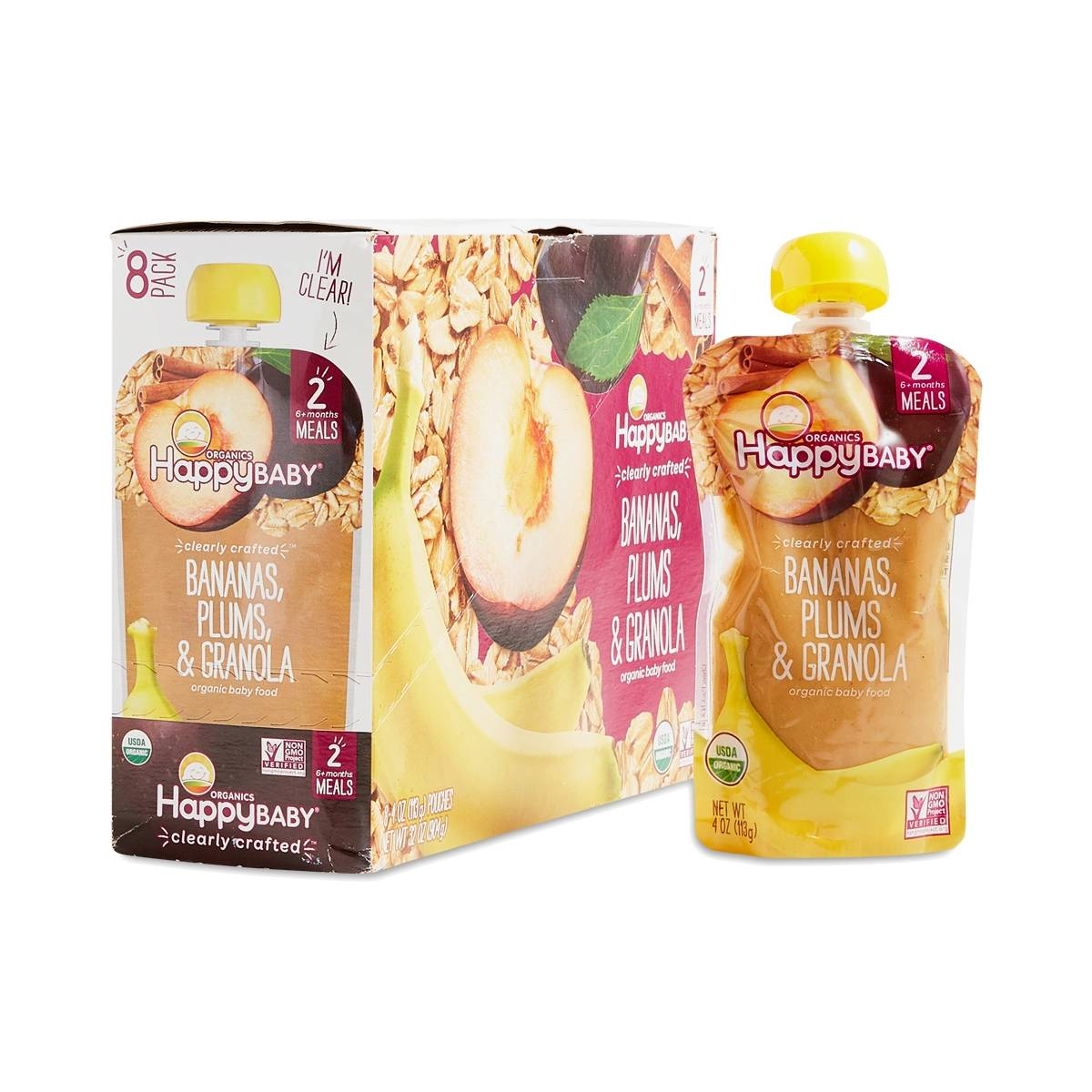 Happy Baby Bananas Plums Amp Granola Organic Baby Food