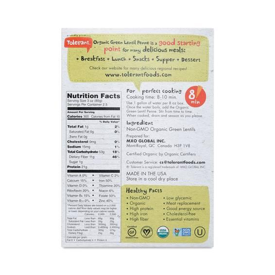 Tolerant Organic Green Lentil Penne Thrive Market