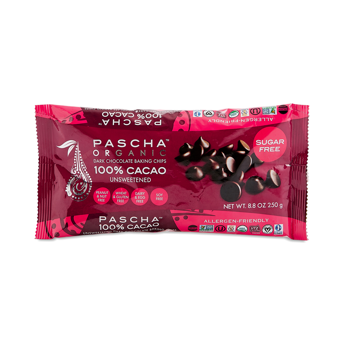Pascha Organic 100% Cacao Unsweetened Dark Chocolate Chips 8.8 oz bag