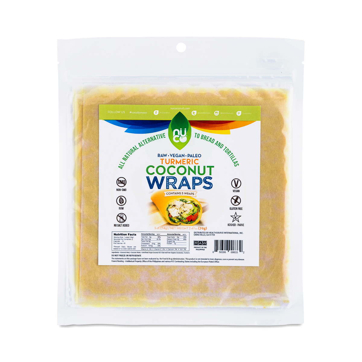 5 Pack Organic Turmeric Coconut Wraps By Nuco Thrive Market