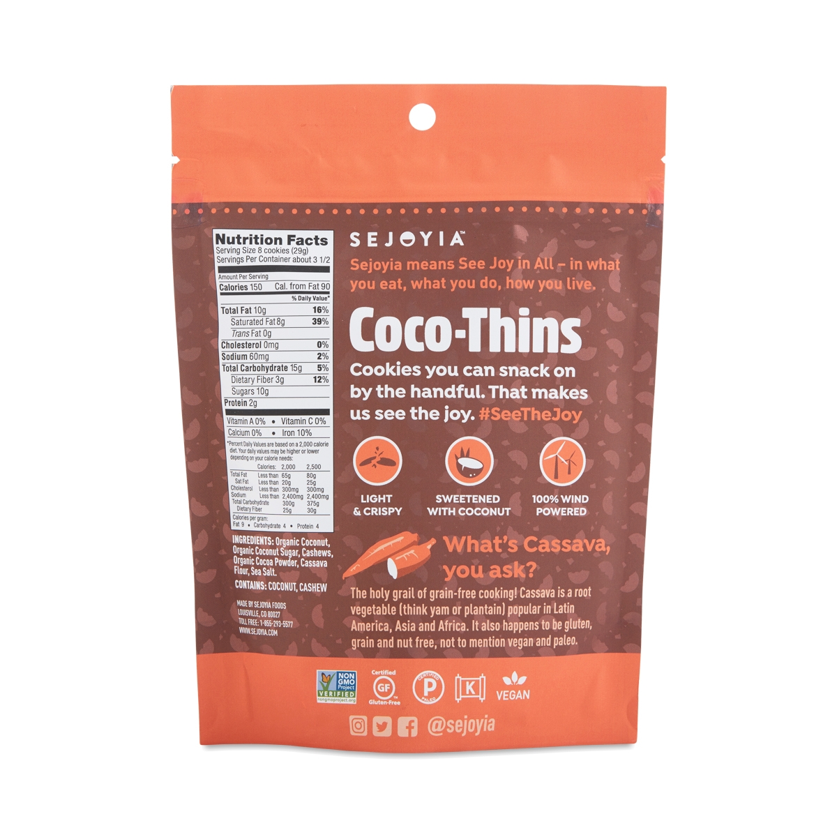 Coco-Thins Cashew Cookies, Chocolate