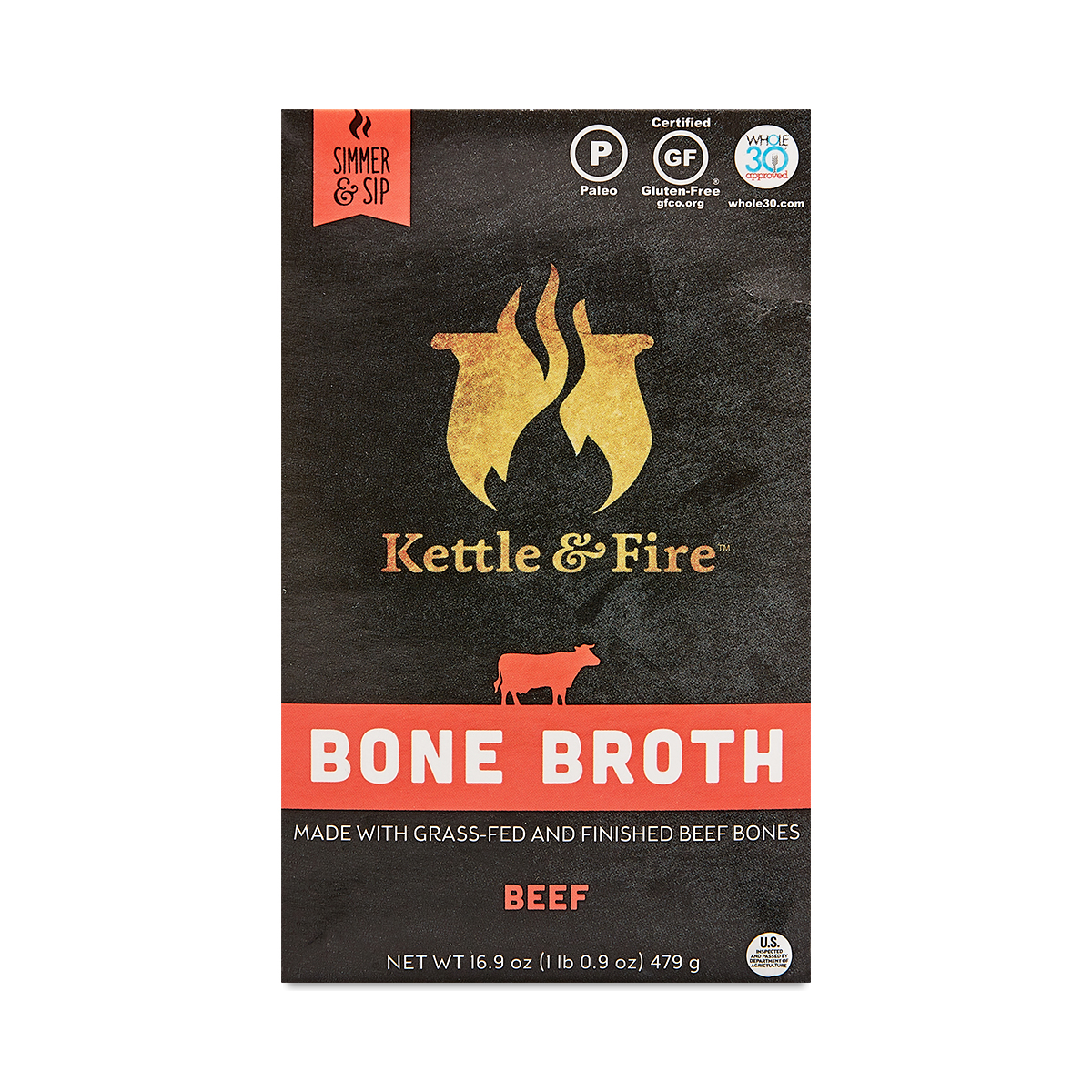 Kettle & Fire Grass-Fed Beef Bone Broth 16.2 oz carton