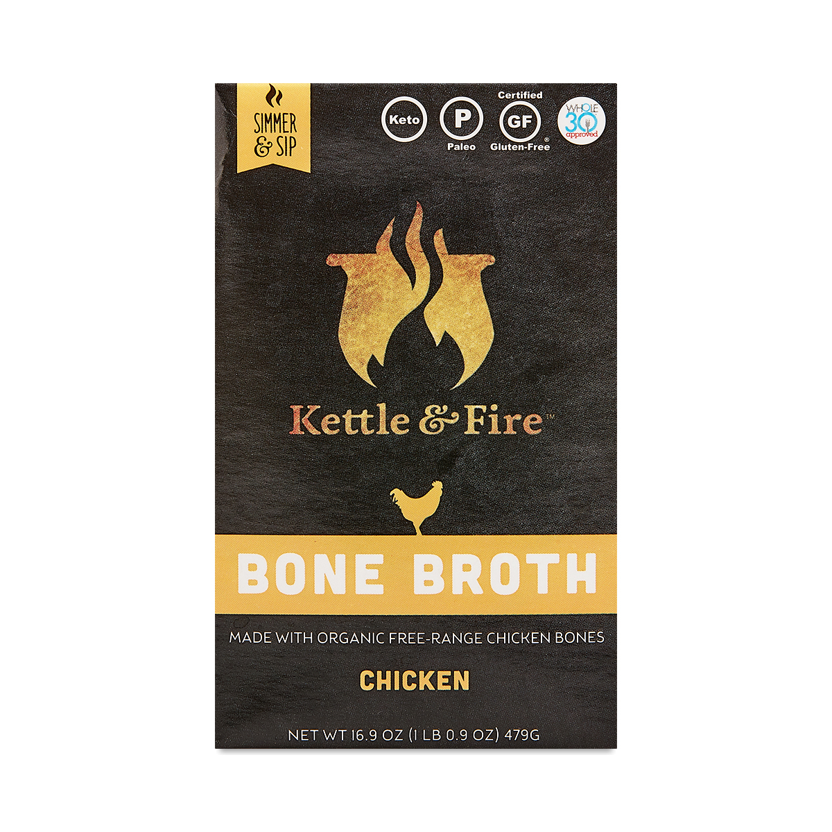 Kettle & Fire Chicken Bone Broth 16.9 oz carton