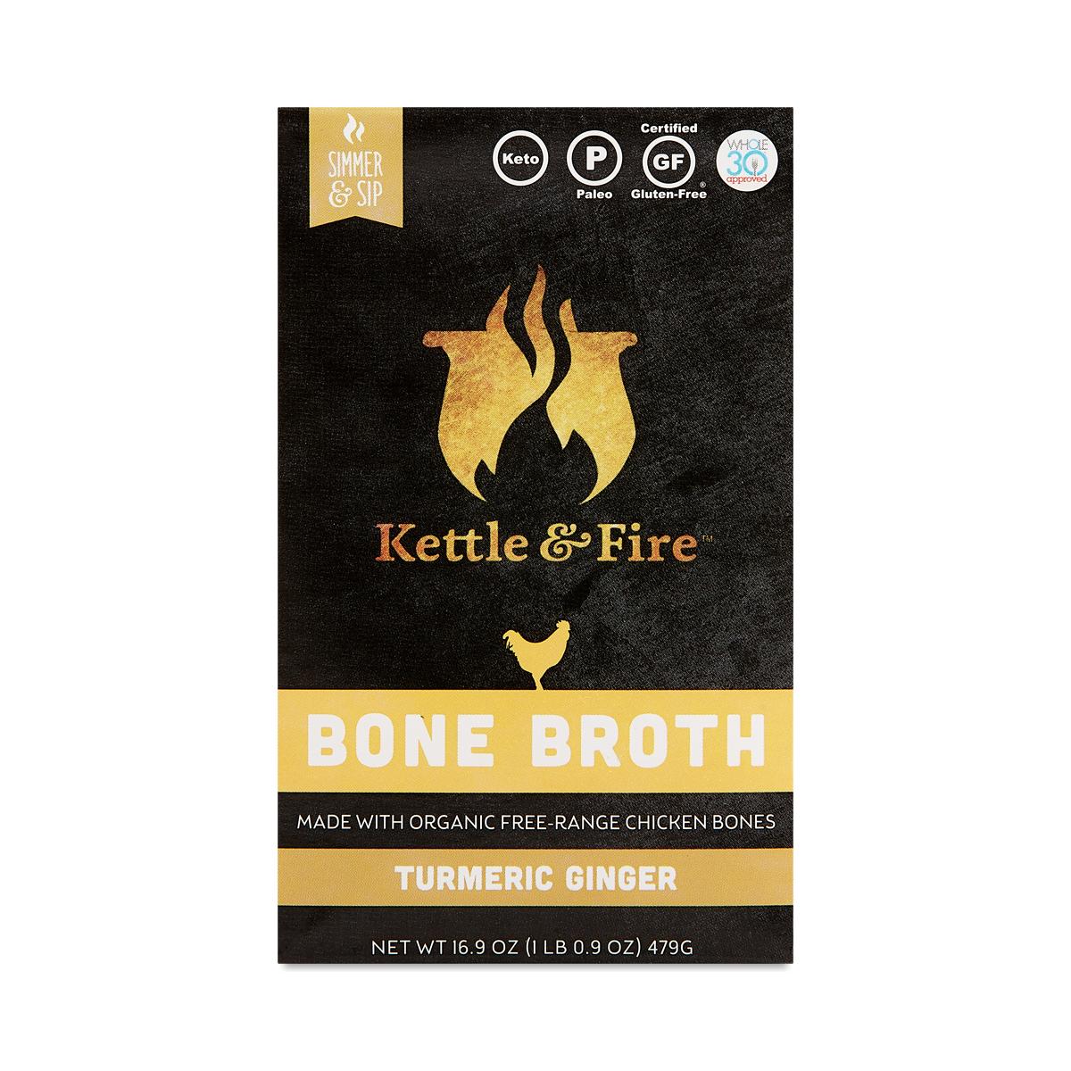 Kettle & Fire Bone Broth, Turmeric Ginger Chicken 16.9 oz carton