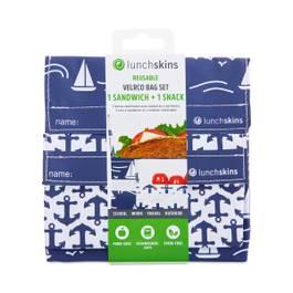 Reusable Sandwich + Snack Bags, Navy Boat