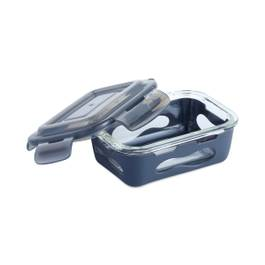 Glass Container with Silicone Sleeve, Medium, Slate