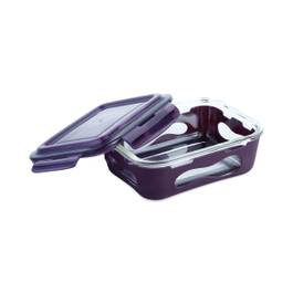 Glass Container with Silicone Sleeve, Large, Eggplant