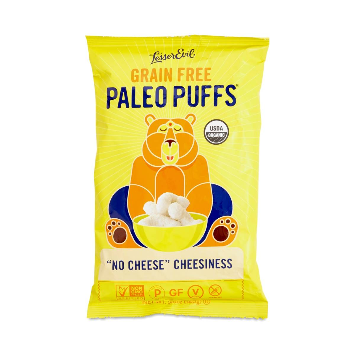"Lesser Evil Paleo Puffs ""No Cheese"" Cheesiness - Thrive Market"