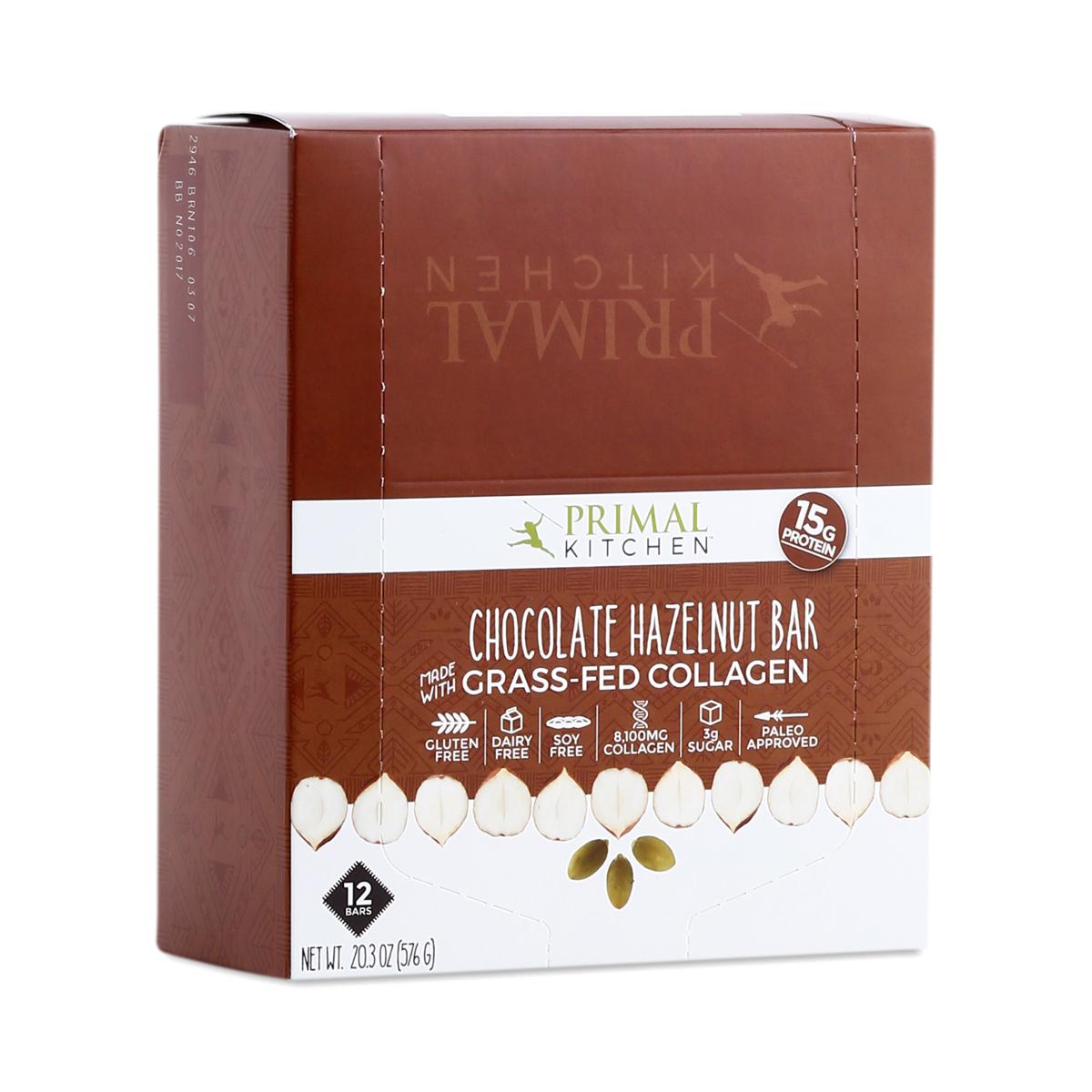 Primal Kitchen Chocolate Hazelnut Grass Fed Collagen Bar, 12 Pack