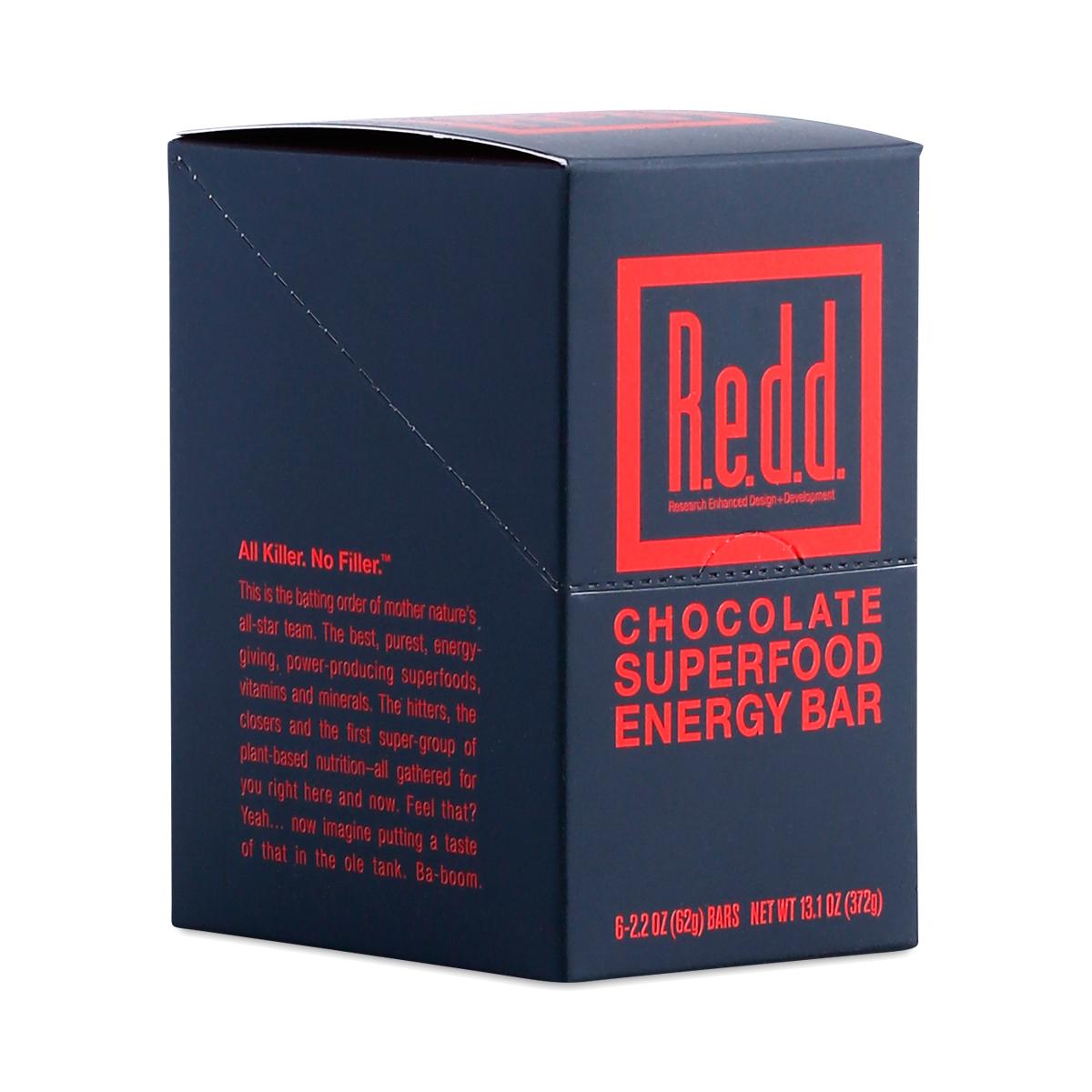 Redd Chocolate Superfood Energy Bar six 2.2 oz bars