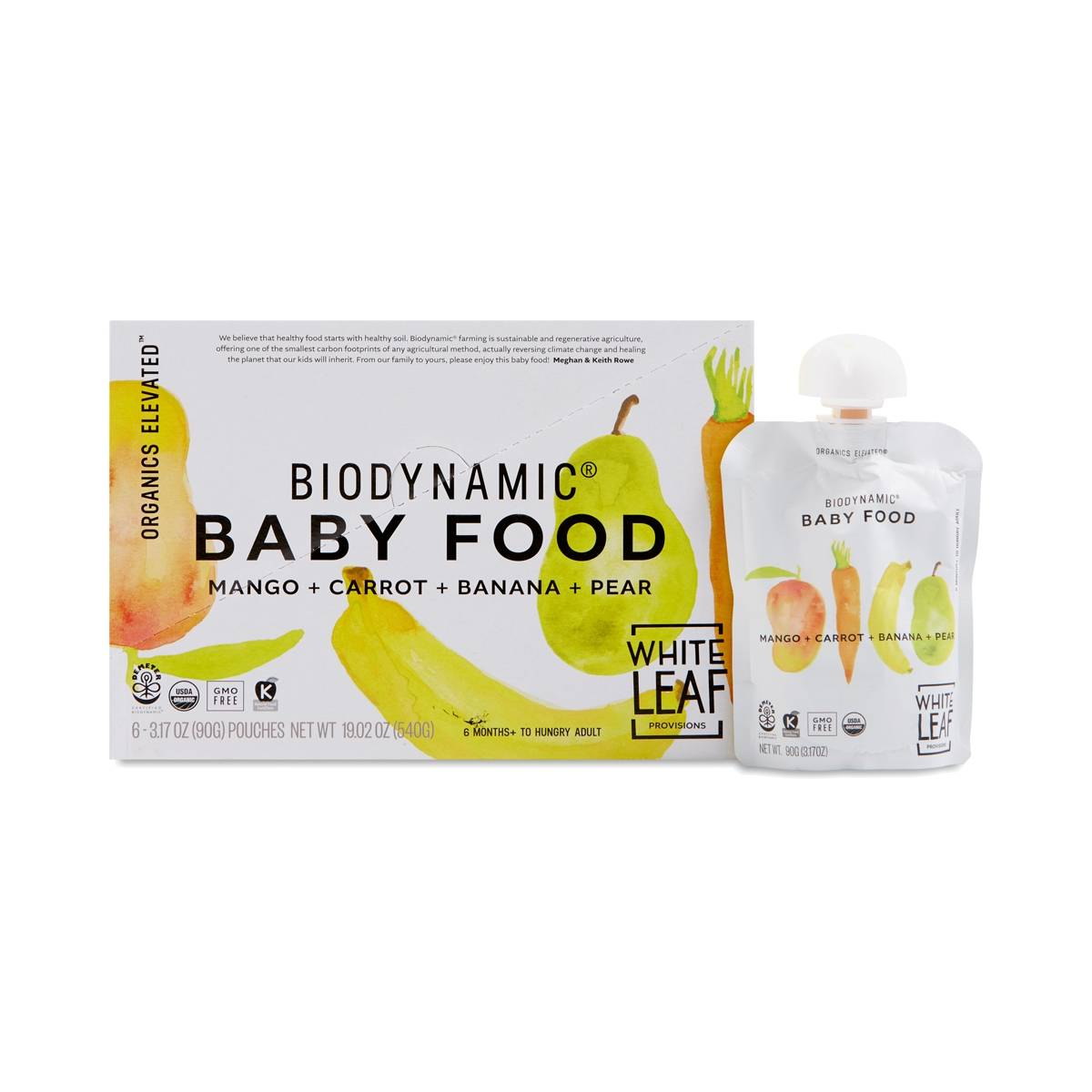 White Leaf Provisions Biodynamic Baby Food Mango Carrot
