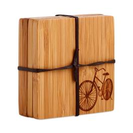 Wood Coasters with Bike Motif