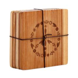 Wood Coasters with Peace Motif