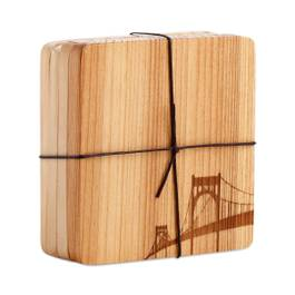 Wood Coaster with Bridge Motif