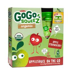 Organic Applesauce Squeezes - Apple Strawberry