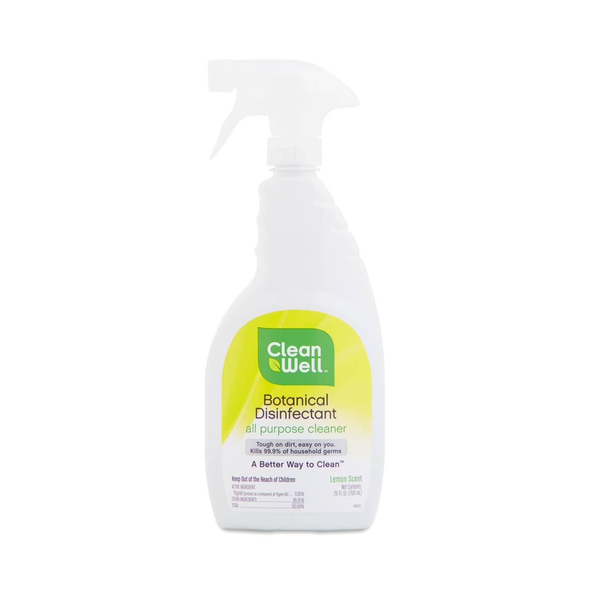 Cleanwell botanical disinfectant all purpose cleaner lemon scent thrive market for Cleanwell botanical disinfectant bathroom cleaner