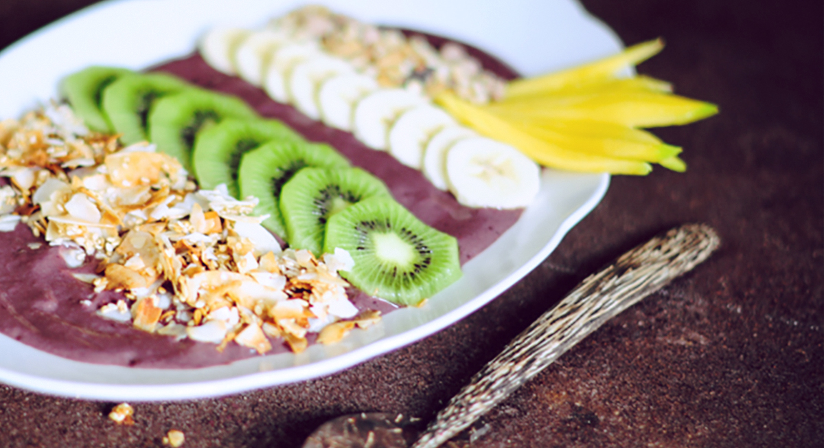 Acai Bowl with Fresh Fruit and Coconut Chips