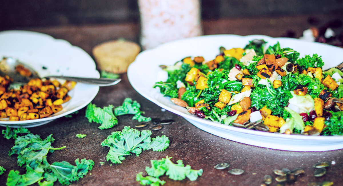 Colorful Kale Salad with Sweet Potato and Tahini Dressing