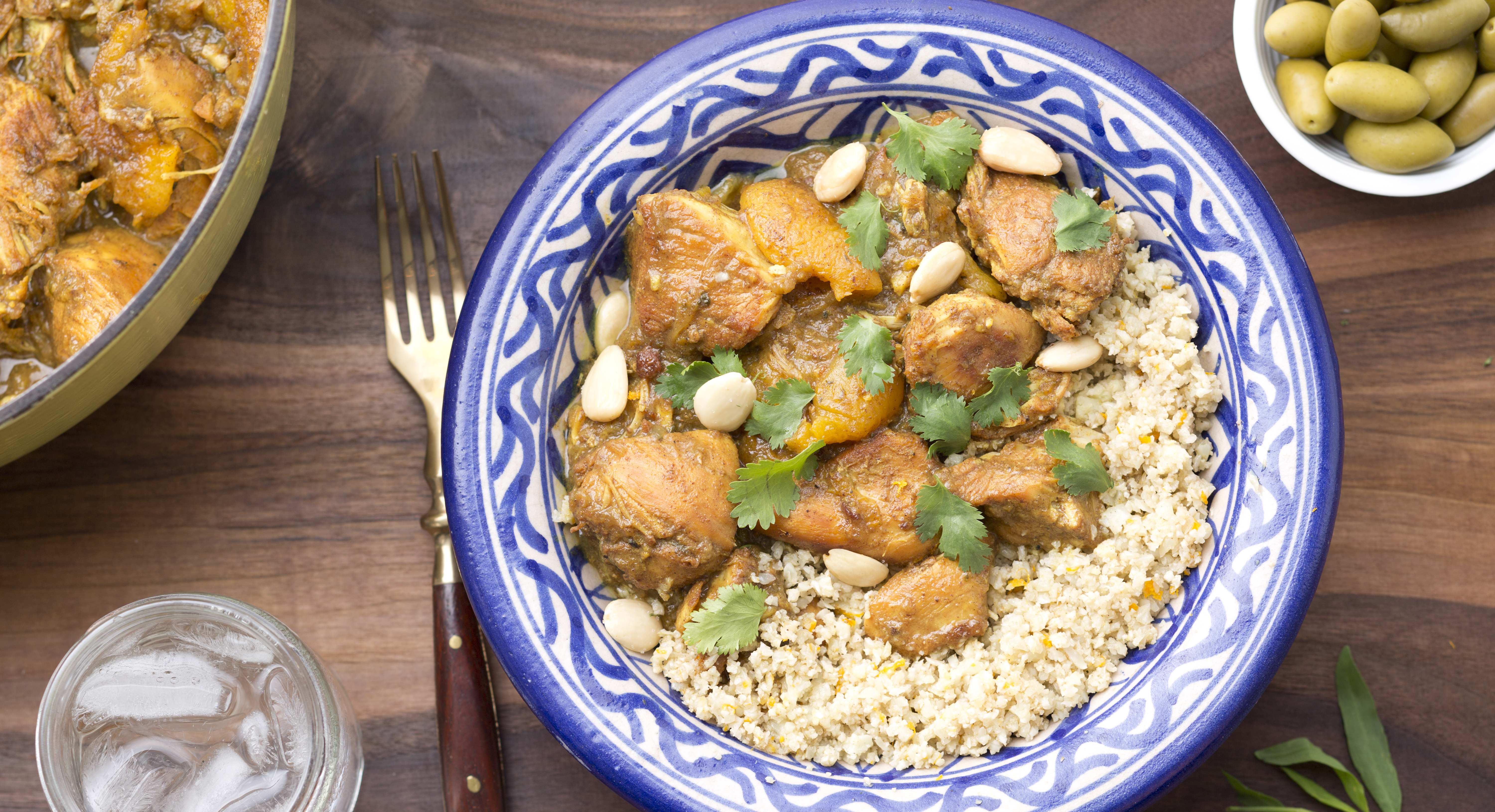 Apricot Almond Chicken Tagine with Cauliflower Couscous