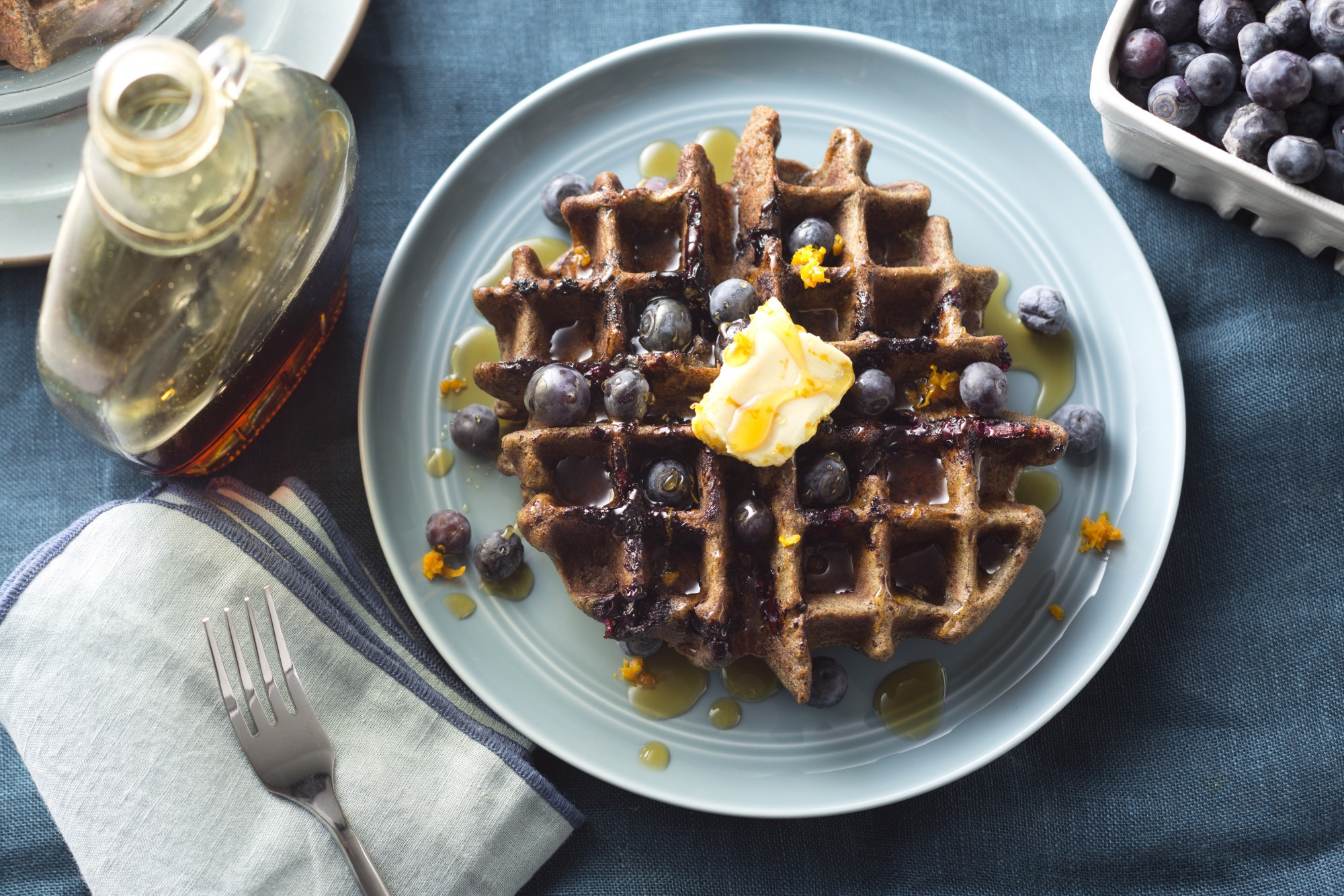 Blueberry Buckwheat Waffles with Orange-Maple Butter ...