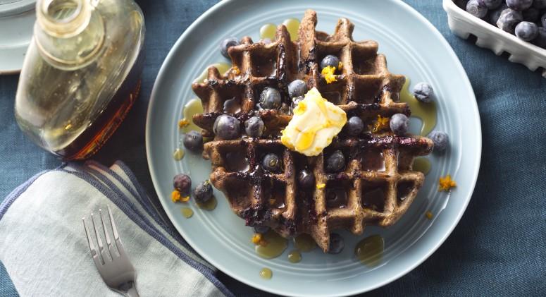 Blueberry Buckwheat Waffles with Orange-Maple Butter