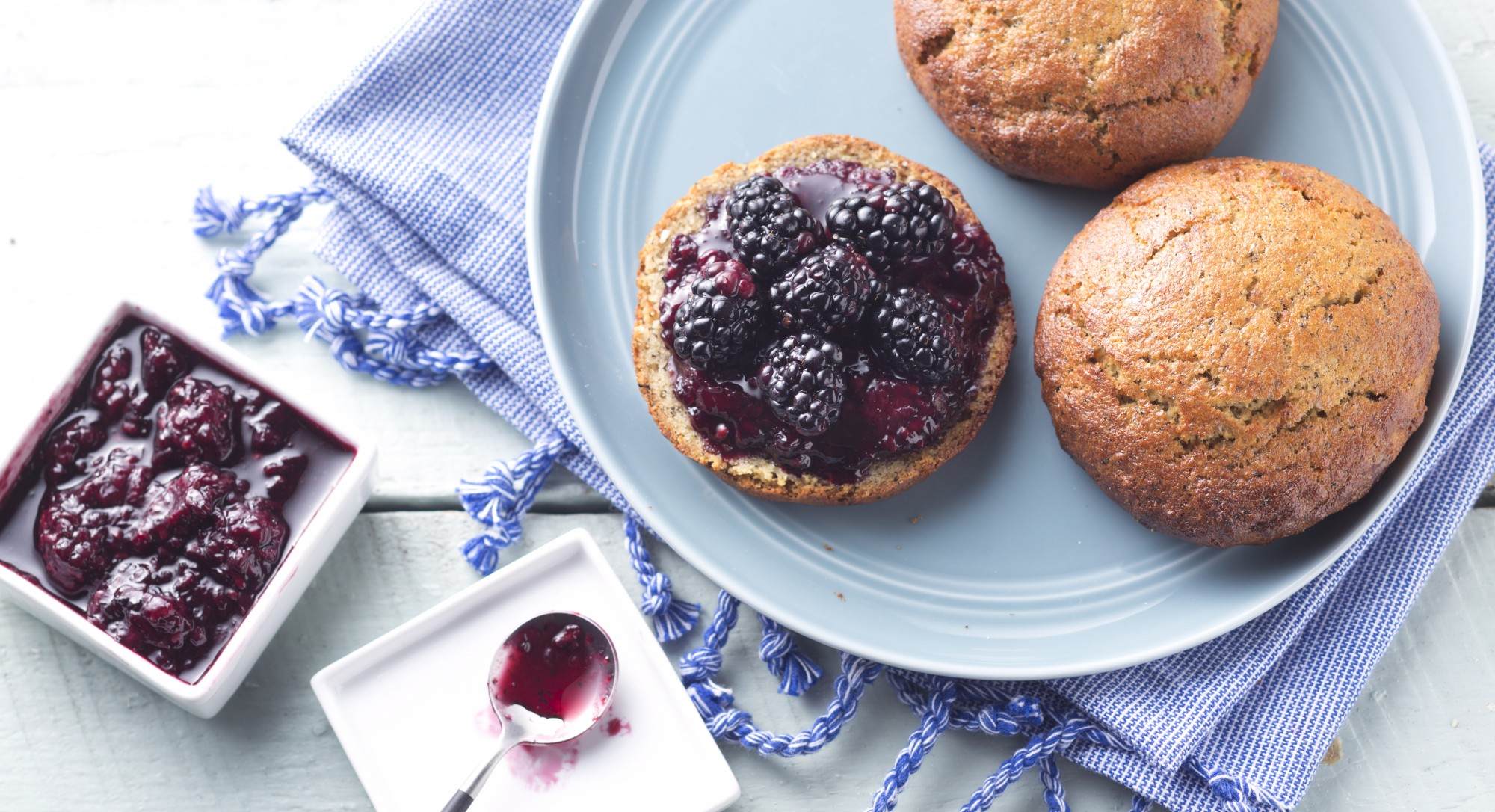 Earl Grey Shortcakes with Lavender-Blackberry Compote