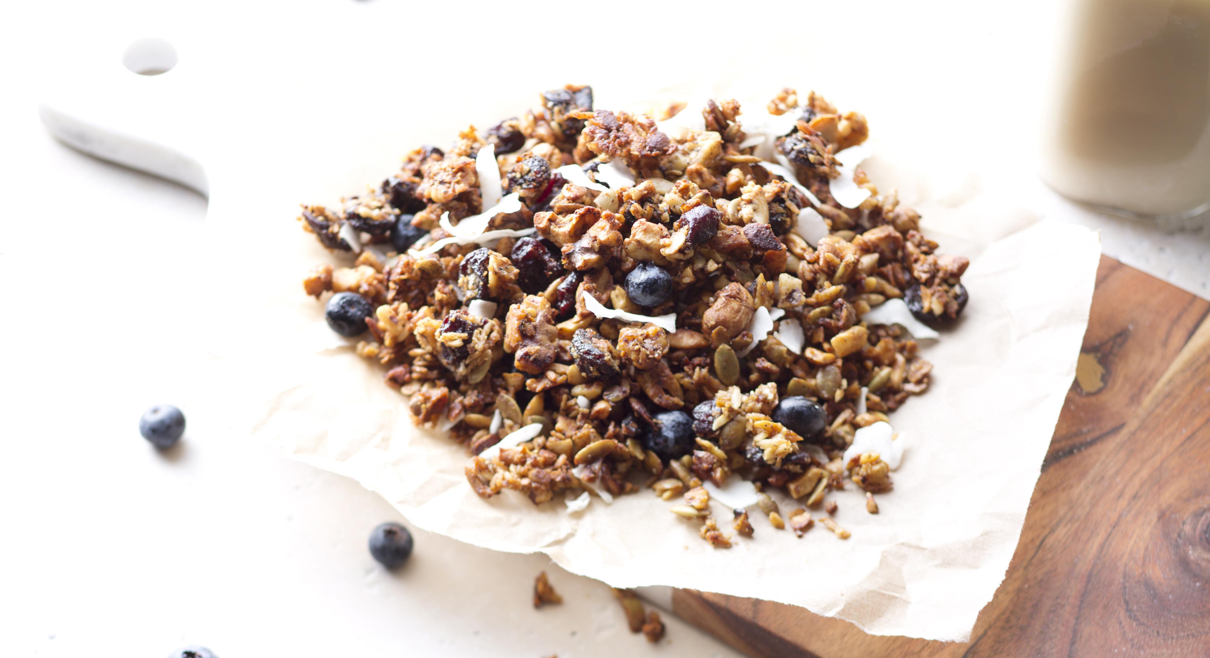 Paleo cherry vanilla granola recipe thrive market granola mixture on parchment solutioingenieria Choice Image