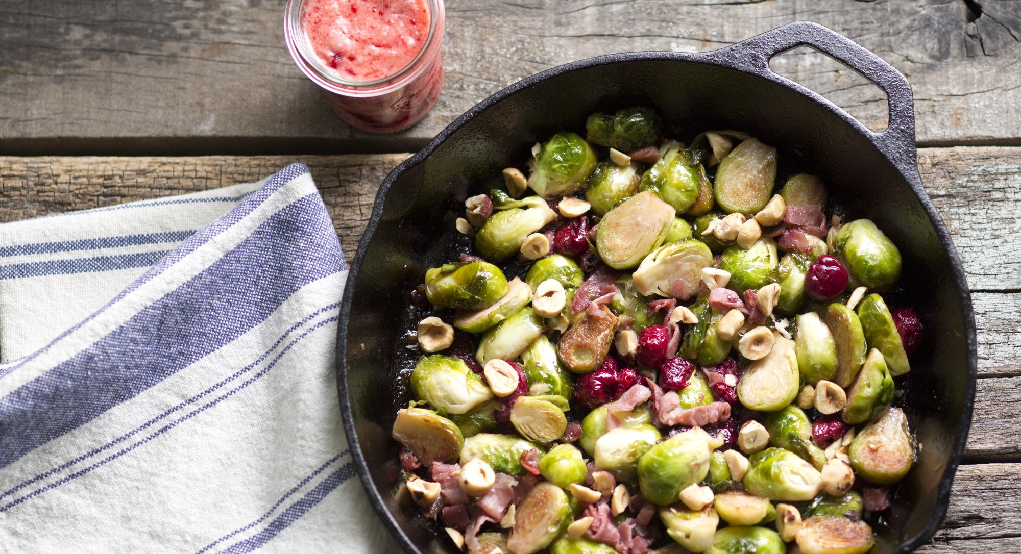 Brussels Sprouts with Sour Cherries, Prosciutto, and Hazelnuts