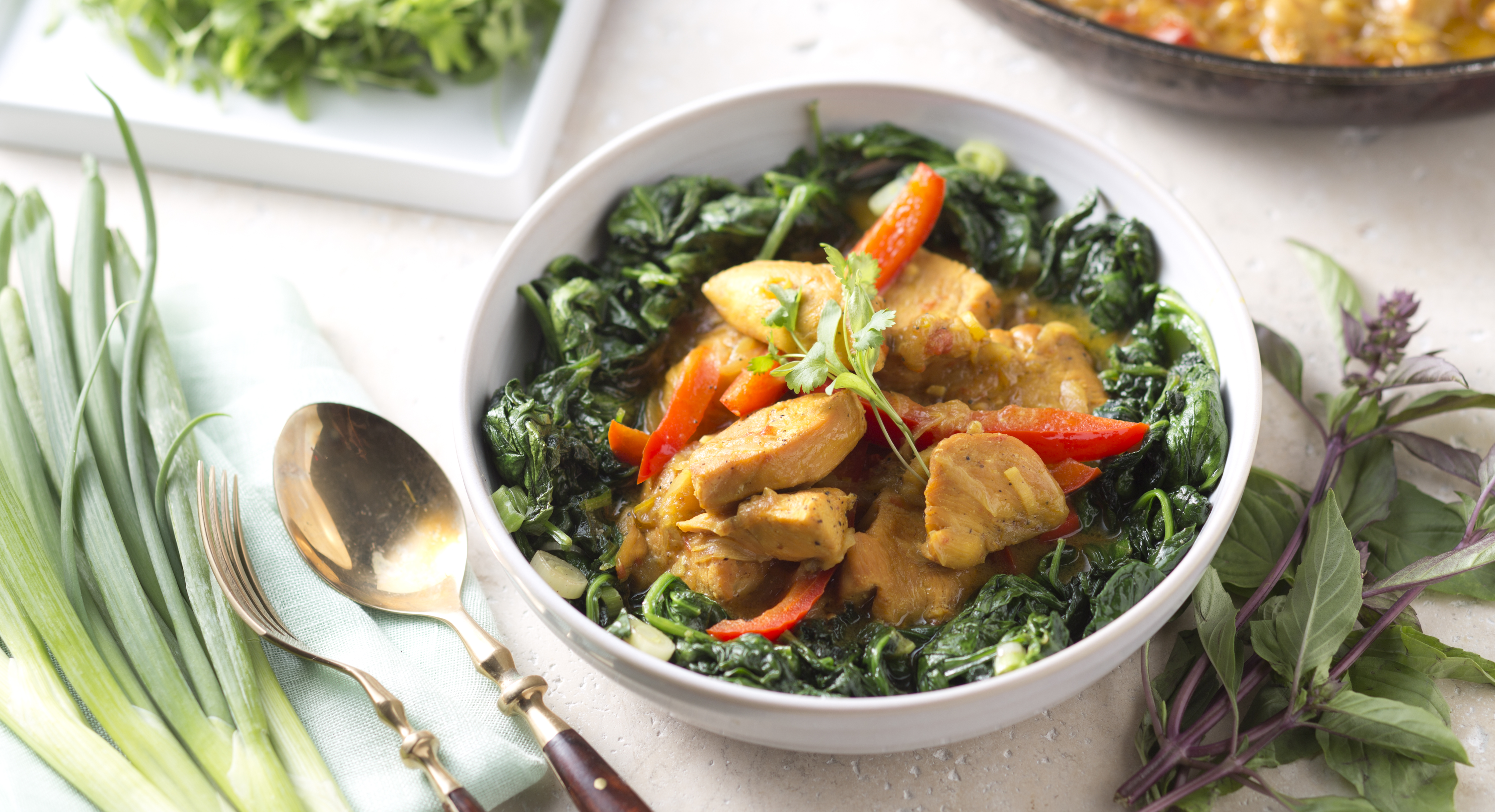 Coconut Chicken Curry with Wilted Spinach
