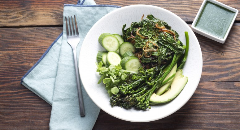 Green Wellness Bowl with Spirulina Vinaigrette