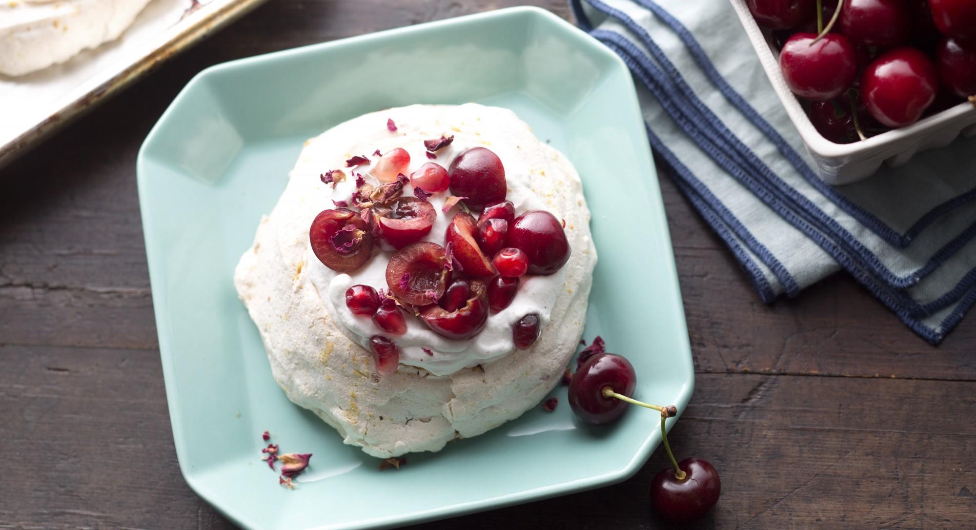 Cherry-Rose Pavlova Recipe