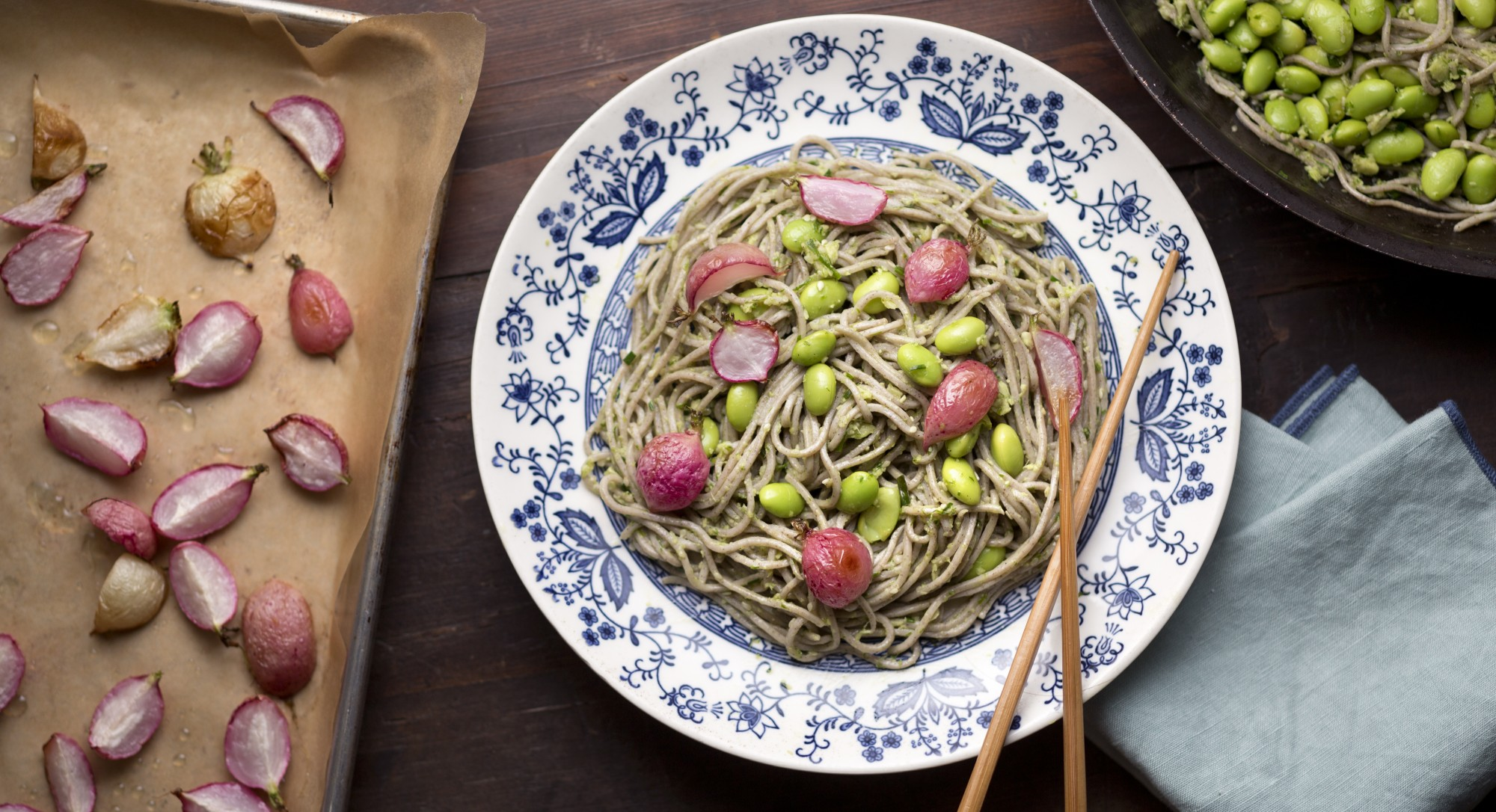 Soba Noodles with Roasted Radishes, Edamame, and Ginger-Chive Butter
