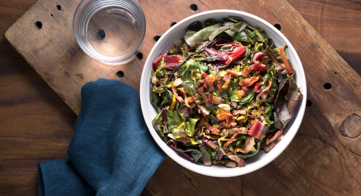 Rainbow chard with bacon