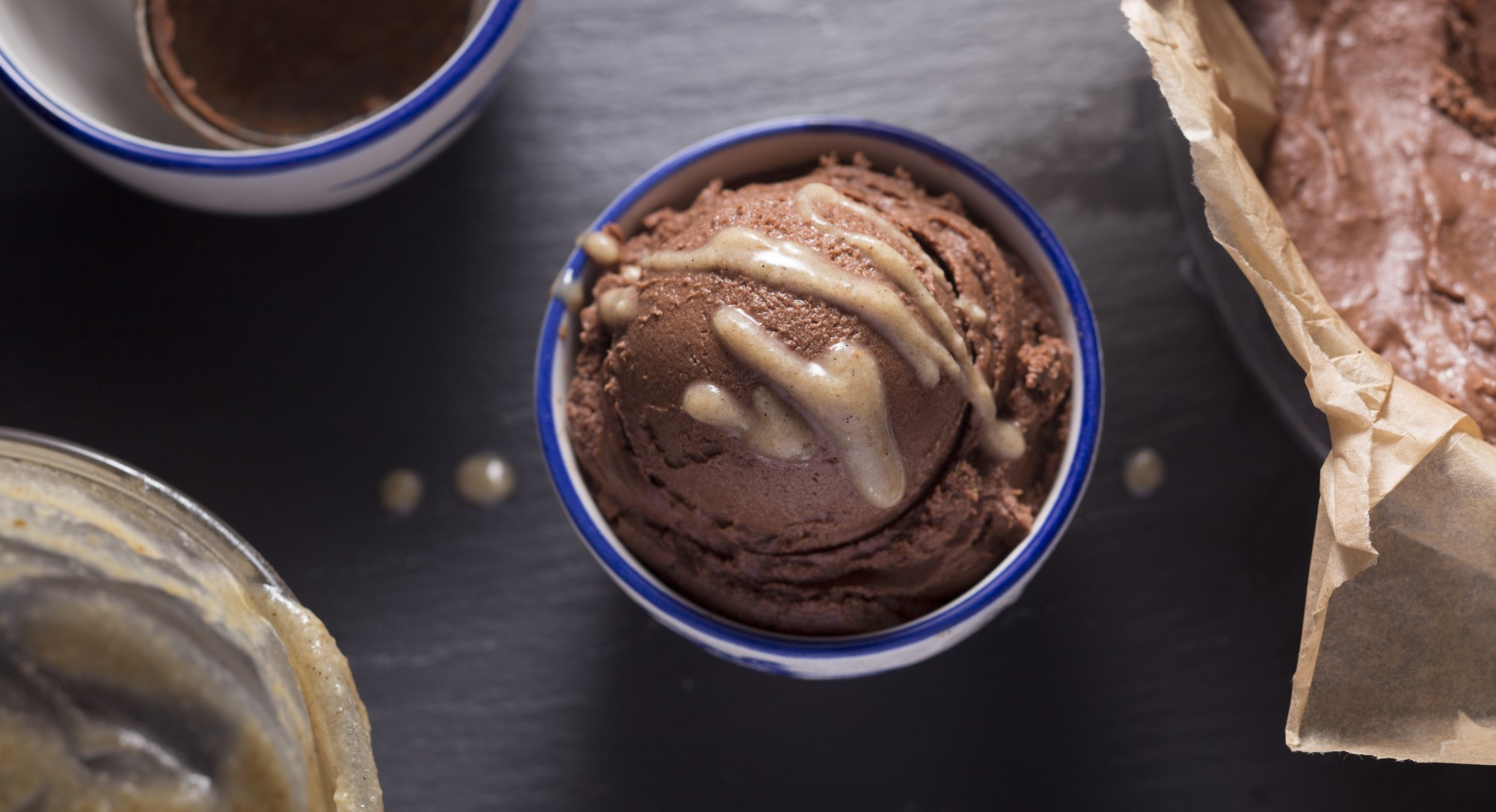 Sundae, Fun Day! Raw Chocolate Ice Cream Drizzled with Caramel