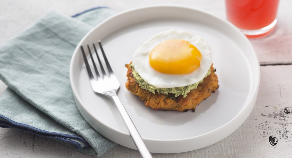 Carrot pancake with sorrel pesto and fried egg