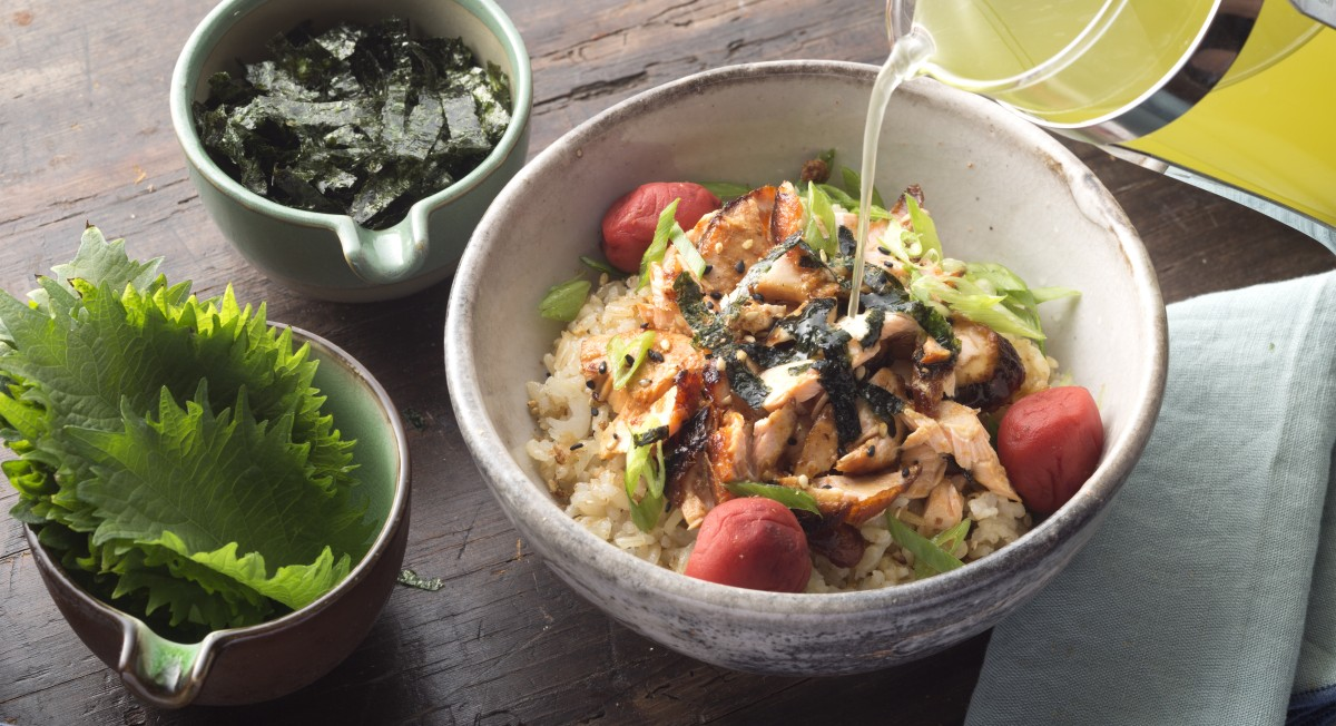 Green tea salmon bowl
