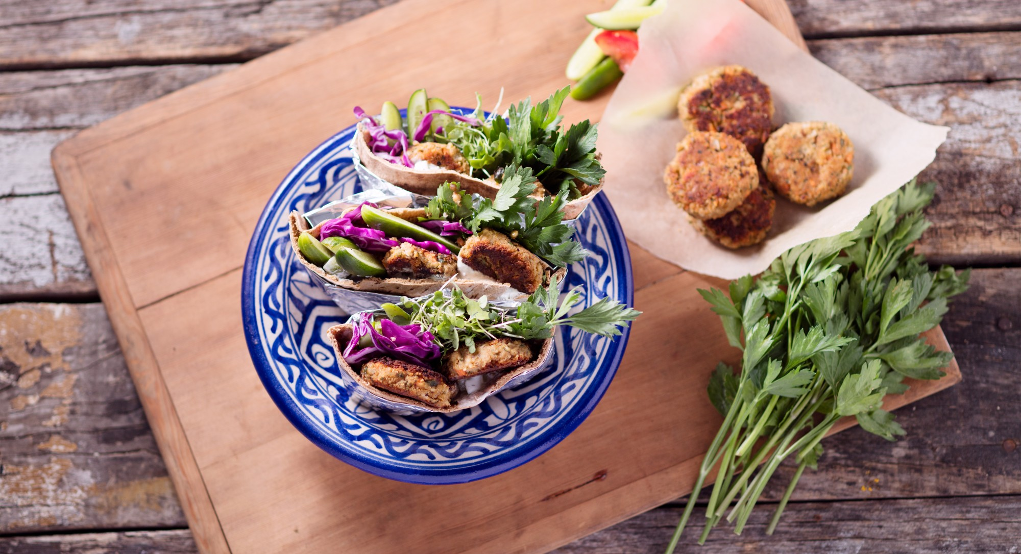 Make Your Own Pita Sandwich With These Vegan Chickpea Patties