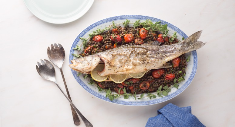 This Whole Roasted Sea Bass With Lentils Is a Showstopper