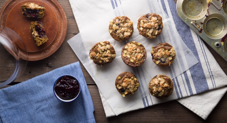 Morning, Sunshine! Try These Blueberry Muffins With a Warm Jam Center