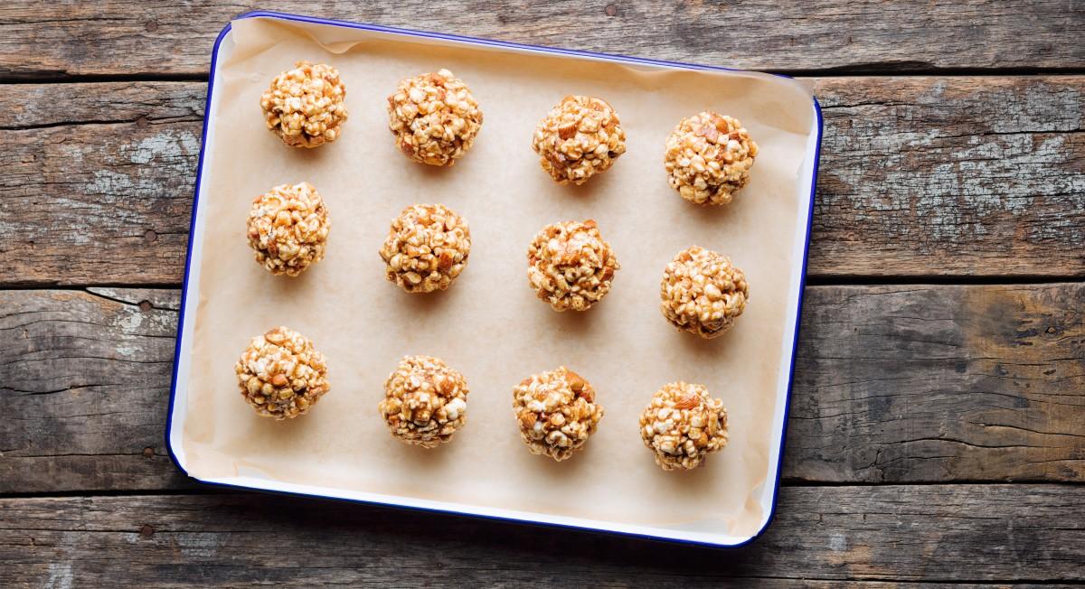 Honey almond popcorn balls