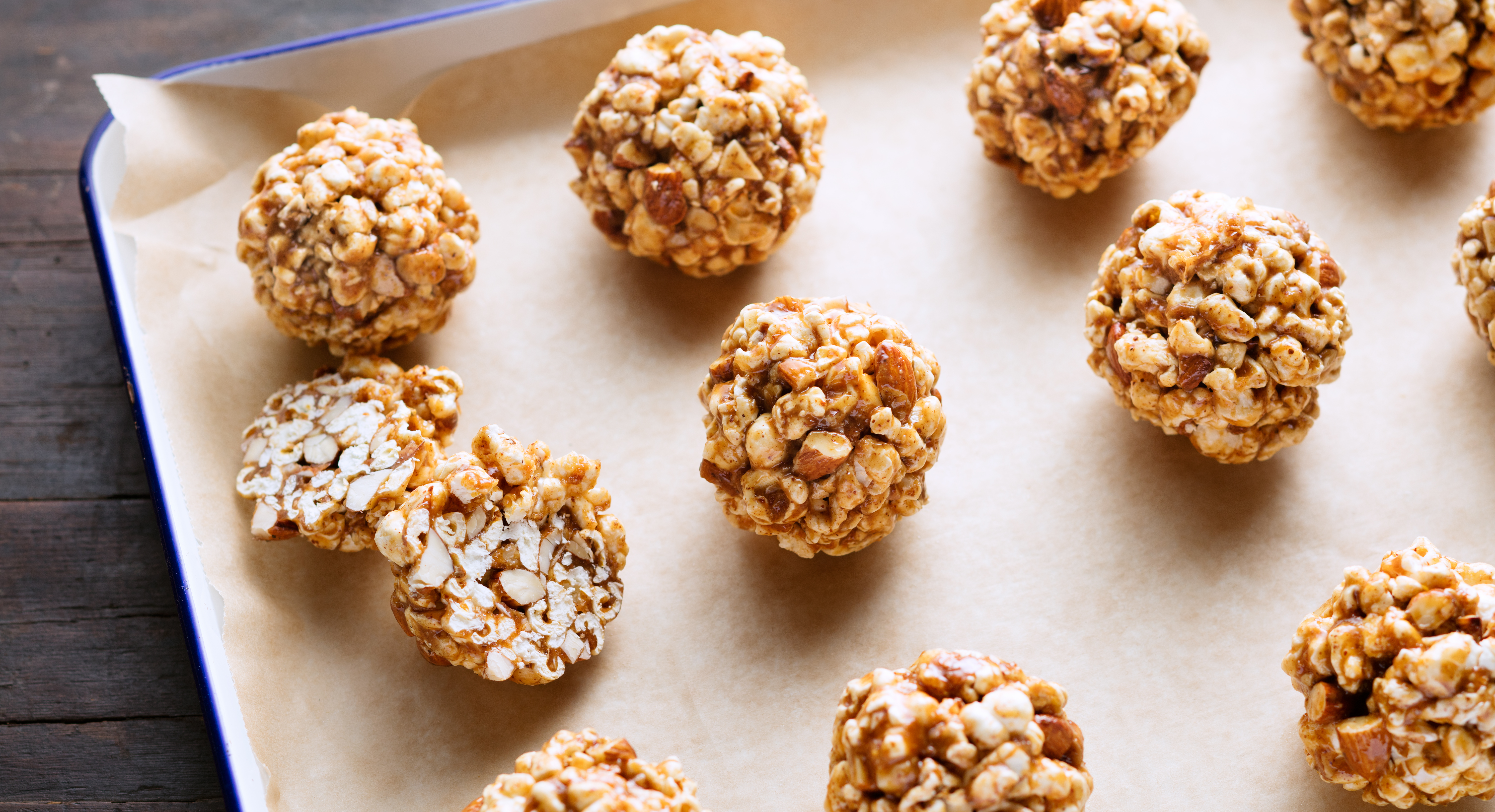 Light, Crunchy, and Sweet: What's Not to Like About Honey Almond Popcorn Balls?