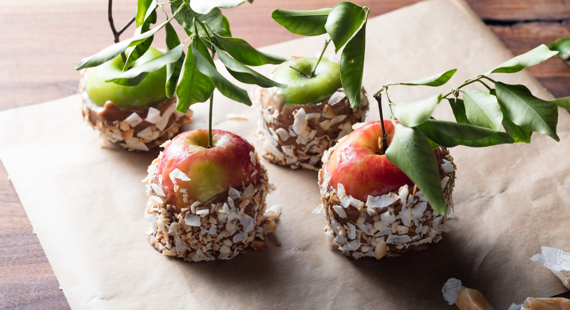 No Trick, All Treat: Double Coconut Caramel Apples