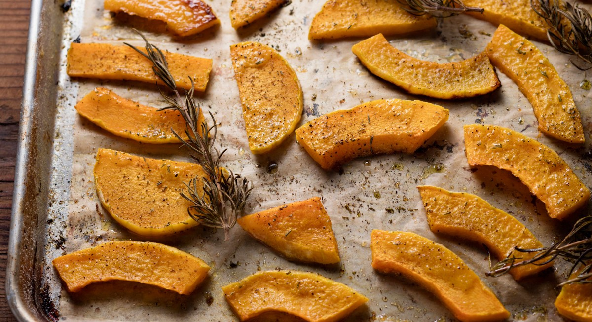 Roasted butternut squash with bee pollen