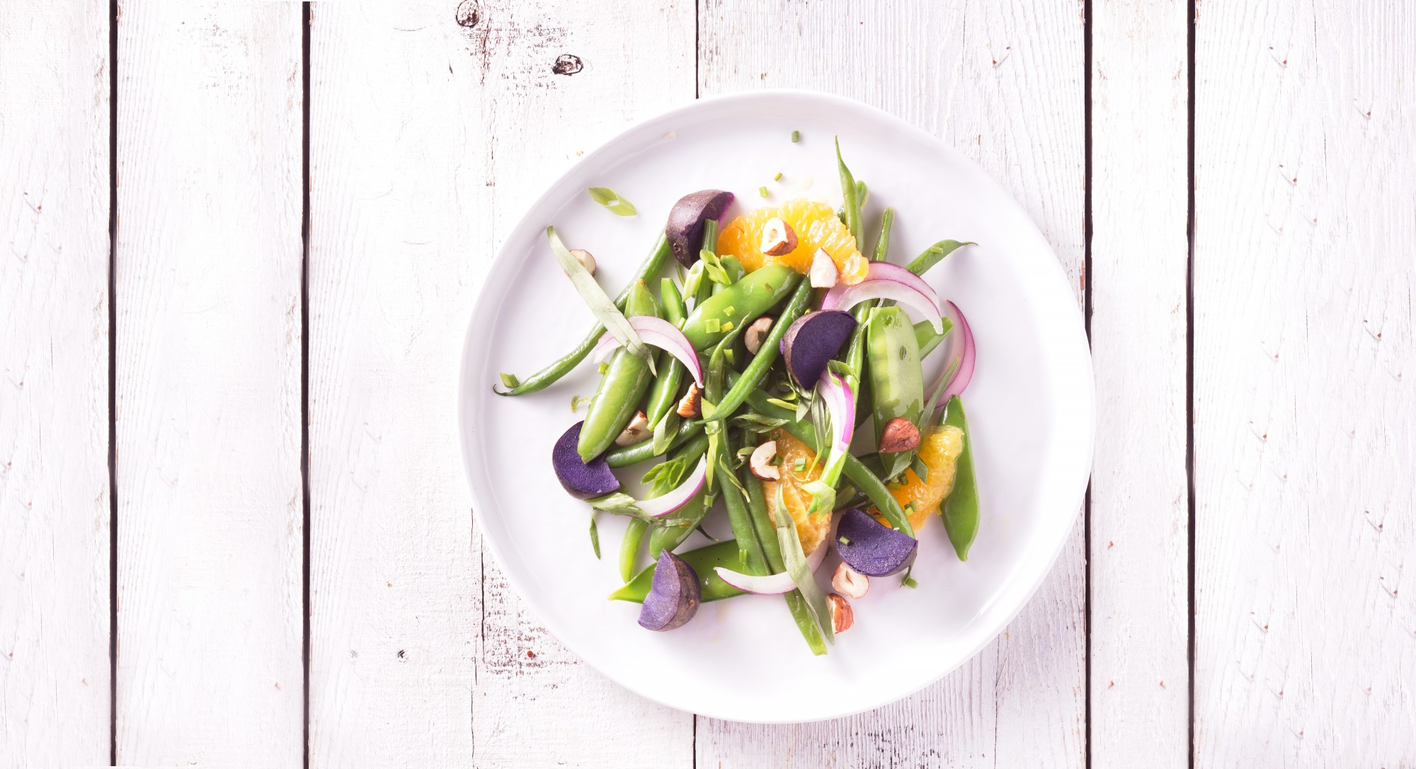 Green Beans, Snow Peas, and Purple Potatoes Shine In This Simple Side Dish