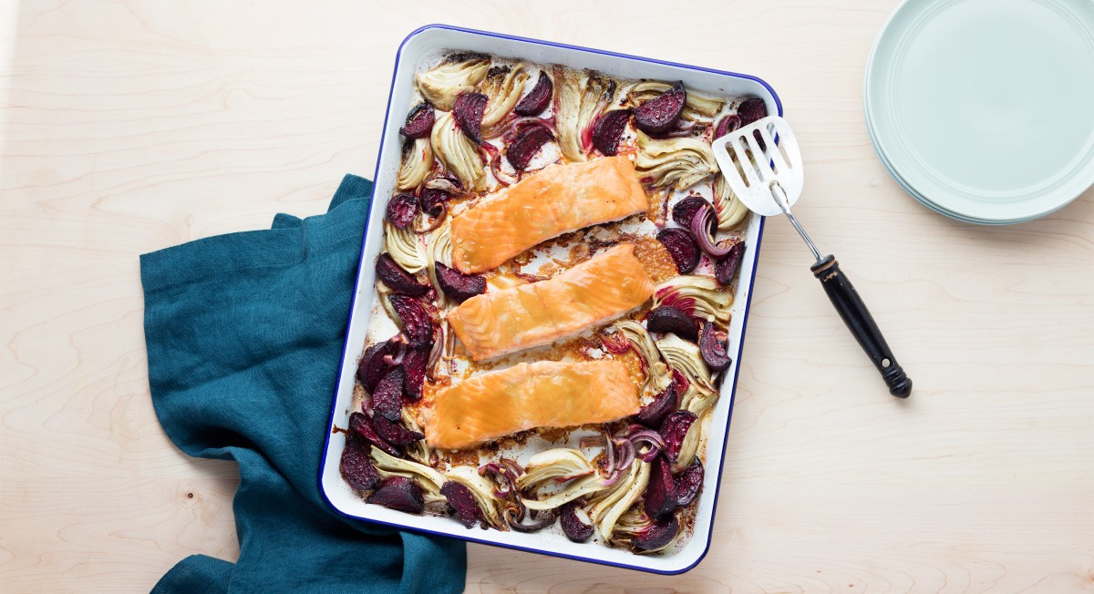 Honey mustard salmon with root vegetables